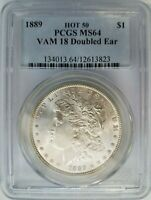 1889 SILVER MORGAN DOLLAR PCGS MINT STATE 64 VAM 18 DOUBLED EAR MINT ERROR VARIETY
