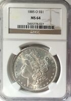 1885-O UNC. NGC MINT STATE 64 CERTIFIED MORGAN DOLLAR OLD SILVER COIN 158