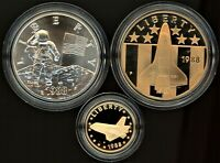AMERICA IN SPACE 3 MEDAL SET US MINT   GOLD SILVER BRONZE