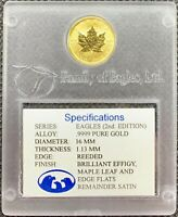 1998 GOLD SATIN MAPLE LEAF EAGLE PRIVY  1/10 OZ FAMILY OF EAGLES CASE & COA BU