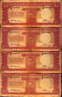 4 X TEN POUND  NOTES   R60 : COOMBS AND WATT   NO  RESERVE