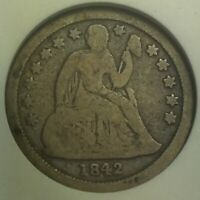 1842 O SEATED LIBERTY DIME ANACS VG 8