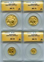 2008-W GOLD BUFFALO 4 COIN SET ANACS MS70 & MINT STATE 69  NO RESERVE