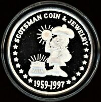 1959 1997 SCOTSMAN COIN & JEWELRY 1 OZ. SILVER ROUND WITH BOX