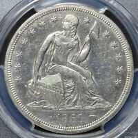 1860 O SEATED LIBERTY DOLLAR PCGS CLEANED AU DETAIL