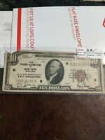 1929 TEN DOLLAR $10 NATIONAL CURRENCY BANK NOTE LIBERTY NEW YORK