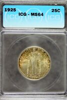 1925 - ICG MINT STATE 64 STANDING LIBERTY SILVER QUARTER  B19363