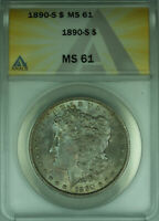 1890-S MORGAN SILVER DOLLAR $1 ANACS MINT STATE 61 BEAUTIFULLY TONED BETTER COIN 28