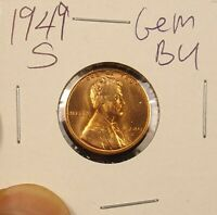 1949 S LINCOLN WHEAT CENT GEM BU..COMBINE SHIPPING $3.89 LOT 65