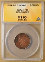 1854 BRAIDED HAIR HALF CENT ANACS MINT STATE 60 DETAILS
