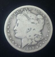 AUTHENTIC US MORGAN SILVER DOLLAR 1892-S  MORGAN 1878-1921