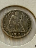 1891 S SEATED LIBERTY SILVER DIME 10 FULL LIBERTY EARLY US TYPE COIN 647
