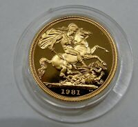 GREAT BRITAIN   1981   PROOF GOLD SOVEREIGN   IN CAPSULE  AGW 0.2354 OZ.