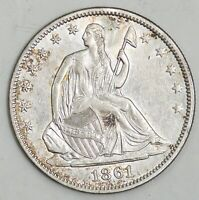 1861 SEATED LIBERTY SILVER HALF DOLLAR 50C AU DETAILS NO RES