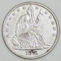 1871 SEATED LIBERTY SILVER HALF DOLLAR 50C AU DETAILS NO RES