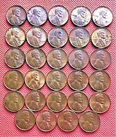 29 DIFFERENT WHEAT CENTS FROM YEARS 1930-D TO 1958-D, UNCIRCULATED COINS