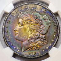 1878-S NGC MINT STATE 63 MORGAN $ AWESOME COLORFUL MONSTER RAINBOW TONING JH