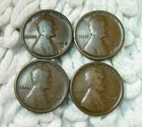 1910 S 1912 S 1913 S 1914 S   -  LINCOLN WHEAT CENT  - LOT / SET OF 4 COINS