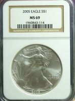 2005 AMERICAN SILVER EAGLE  NGC MINT STATE 69 BROWN LABEL