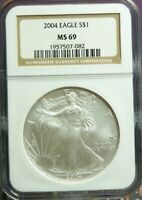 2004 AMERICAN SILVER EAGLE  NGC MINT STATE 69 BROWN LABEL