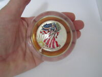 AUTHENTIC BU 1999 AMERICAN SILVER EAGLE COLORIZED COIN LUCITE PAPERWEIGHT