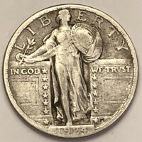 1924 D STANDING LIBERTY SILVER QUARTER. RARE KEY DATE HIGH G