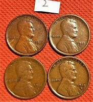 1910-S, 1912-S, 1913-S, 1915-S WHEAT CENTS, PENNY, KEY DATE COINS 2
