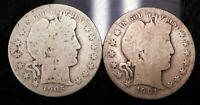 LOT OF 2 SILVER BARBER HALF DOLLARS 1901 S AND 1905 O   KEYD