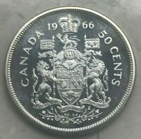 1966 CANADA 50 CENTS   PROOFLIKE WITH CAMEO FIELDS
