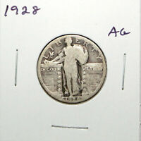 1928 US STANDING LIBERTY SILVER QUARTER  ABOUT GOOD  91C