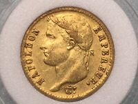 1812 FRENCH EMPIRE NAPOLEON BONAPARTE 20 FRANC GOLD COIN  EARLY DATE