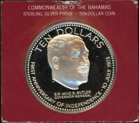 1974 BAHAMAS STERLING SILVER $10 INDEPENDENCE DAY PROOF   FRANKLIN MINT