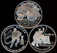 CANADA LOT OF 3 PROOF STERLING SILVER $1   1993   1997 HOCKEY 1996 MCINTOSH