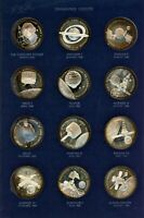 SET OF 24 STERLING SILVER PROOF AMERICA IN SPACE MEDALS   FRANKLIN MINT