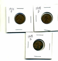 1949 P,D,S WHEAT PENNIES LINCOLN CENTS CIRCULATED 2X2 FLIPS 3 COIN PDS SET165