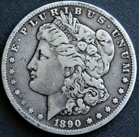 1890 S  MORGAN DOLLAR.  RICH, NATURAL PATINA THAT ACCENTUATES  FINE DETAILS.