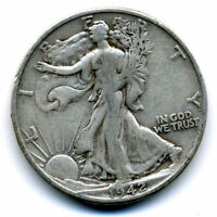 1942 D WALKING LIBERTY HALF DOLLAR KEY DATE SILVER  50 CENT COIN U.S 10607