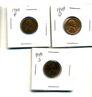 1949 P,D,S WHEAT PENNIES LINCOLN CENTS CIRCULATED 2X2 FLIPS 3 COIN PDS SET274