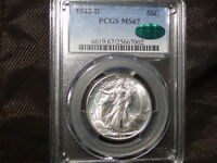1943-D PCGS MINT STATE 67 CAC WALKING LIBERTY SILVER HALF DOLLAR-BLAST WHITE  GEM