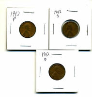 1942 P,D,S WHEAT PENNIES LINCOLN CENTS CIRCULATED 2X2 FLIPS 3 COIN PDS SET3183