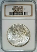 1897 S MORGAN SILVER DOLLAR NGC MINT STATE 62 REDFIELD HOARD PEDIGREE COLLECTION COIN