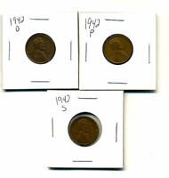 1942 P,D,S WHEAT PENNIES LINCOLN CENTS CIRCULATED 2X2 FLIPS 3 COIN PDS SET3193