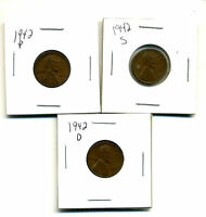 1942 P,D,S WHEAT PENNIES LINCOLN CENTS CIRCULATED 2X2 FLIPS 3 COIN PDS SET3202