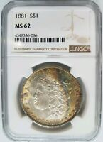 1881 SILVER MORGAN DOLLAR NGC MINT STATE 62 MONSTER CRESCENT TONED TONER END ROLL ALBUM