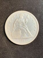 1843 SEATED LIBERTY SILVER DOLLAR CLEANED/GRAFFITI
