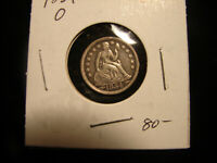 1854 O SILVER SEATED LIBERTY DIME WITH ARROWS, AS PICTURED.
