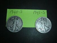 LIBERTY WALKING HALF DOLLARS- 1940-S & 1941-S   COINS  2 COINS IN THIS LOT