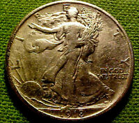 1918 WALKING LIBERTY HALF DOLLAR 50C    EARLY BETTER DATE COIN  62HM