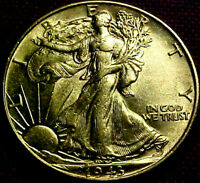 1943 WALKING LIBERTY HALF DOLLAR 50 CENTS 50C  BRIGHT LUSTROUS  COIN  42BF