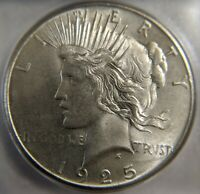1925  ICG MINT STATE 66 SILVER PEACE DOLLAR COIN DOUBLE DIE REVERSE MINT STATE 66 MICRO DDR